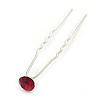 Bridal/ Wedding/ Prom/ Party Single Fuchsia Crystal Hair Pin In Silver Tone - 70mm L