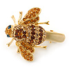 Citrine/ Topaz Coloured Austrian Crystal Bee Hair Beak Clip/ Concord Clip In Gold Tone - 40mm L