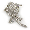Clear Austrian Crystal Rose Hair Slide/ Grip In Silver Tone Metal - 50mm Across