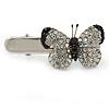 Clear/ Black Austrian Crystal Butterfly Hair Beak Clip/ Concord Clip In Silver Tone - 37mm L