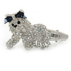 Clear/ AB Crystal 'Bolognese' Dog Hair Beak Clip/ Concord Clip In Silver Tone - 55mm L