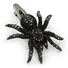 Black Austrian Crystal Spider Hair Beak Clip/ Concord Clip In Gun Metal Finish - 55mm L