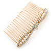 Bridal/ Wedding/ Prom/ Party Gold Plated Clear Crystal, Light Cream Faux Pearl Bow Hair Comb - 80mm