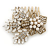 Vintage Inspired Bridal/ Wedding/ Prom/ Party Gold Tone CZ, Faux Peal Floral Hair Comb - 65mm