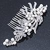 Bridal/ Wedding/ Prom/ Party Rhodium Plated Clear Austrian Crystal, Faux Pearl Floral Side Hair Comb - 105mm