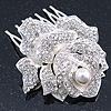 Bridal/ Wedding/ Prom/ Party Silver Tone Clear Austrian Crystal Rose Side Hair Comb - 60mm