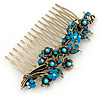 Vintage Inspired Teal/ AB Swarovski Crystal 'Flowers' Side Hair Comb In Antique Gold Tone - 105mm