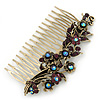 Vintage Inspired Deep Purple/ AB Swarovski Crystal 'Flowers' Side Hair Comb In Antique Gold Tone - 105mm