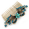 Vintage Inspired Teal Blue/ AB Swarovski Crystal 'Flower With Bow' Side Hair Comb In Antique Gold Tone - 115mm
