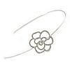 Bridal/ Wedding/ Prom Rhodium Plated Open Rose, Crystal Flower Tiara Headband