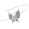 Bridal/ Wedding/ Prom Rhodium Plated White Faux Pearl, Crystal Butterfly Tiara Headband