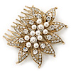 Vintage Inspired Bridal/ Wedding/ Prom/ Party Gold Tone Clear Crystal, Simulated Pearl Floral Hair Comb - 80mm