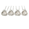 Bridal/ Wedding/ Prom/ Party Set Of 4 Rhodium Plated Crystal Simulated Pearl Flower Hair Pins