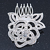 Bridal/ Wedding/ Prom/ Party Rhodium Plated Clear Austrian Crystal Sculptured Rose Hair Comb - 55mm