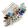 Bridal/ Wedding/ Prom/ Party Rhodium Plated Multicoloured Austrian Crystal, Faux Pearl Floral Hair Comb - 10cm W