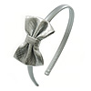 Thin Metallic Silver Faux Leather With Side Textured Bow Alice/ Hair Band/ HeadBand