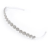 Bridal/ Wedding/ Prom Rhodium Plated Clear Austrian Crystal Multi Flower Tiara Headband