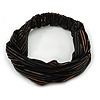 Black Stripy Fabric Wide Elastic Headband/ Headwrap
