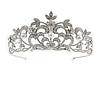 Statement Bridal/ Wedding/ Prom Rhodium Plated Austrian Crystal, Glass Pearl Leaf Tiara