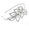 Bridal/ Wedding/ Prom Rhodium Plated Clear Crystal Leaf Tiara Headband