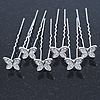 Bridal/ Wedding/ Prom/ Party Set Of 6 Rhodium Plated Crystal 'Butterfly' Hair Pins