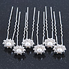 Bridal/ Wedding/ Prom/ Party Set Of 6 Rhodium Plated Crystal Simulated Pearl Flower Hair Pins