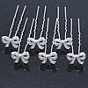 Bridal/ Wedding/ Prom/ Party Set Of 6 Rhodium Plated Crystal 'Bow' Hair Pins