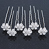 Bridal/ Wedding/ Prom/ Party Set Of 6 Clear Austrian Crystal Daisy Flower Hair Pins In Silver Tone