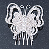 Bridal/ Prom/ Wedding/ Party Rhodium Plated Clear Austrian Crystal Butterfly Side Hair Comb - 55mm W