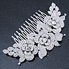 Oversized Bridal/ Wedding/ Prom/ Party Rhodium Plated Clear Crystal Triple Rose Floral Hair Comb - 110mm