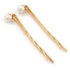 2 Bridal/ Prom Wide Crystal, Simulated Pearl Hair Grips/ Slides In Gold Plating - 55mm Across