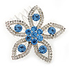 Bridal/ Prom/ Wedding/ Party Rhodium Plated Clear/ Light Blue Austrian Crystal Flower Side Hair Comb - 55mm W