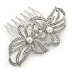 Bridal/ Wedding/ Prom/ Party Rhodium Plated Clear Crystal, Simulated Pearl Double Flower Hair Comb - 75mm