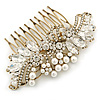 Oversized Bridal/ Wedding/ Prom/ Party Antique Gold Crystal, Pearl Floral Hair Comb - 100mm