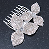 Bridal/ Prom/ Wedding/ Party Rhodium Plated Clear Austrian Crystal Two Flower Side Hair Comb - 8cm Width