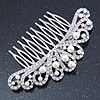 Bridal/ Wedding/ Prom/ Party Rhodium Plated Clear Austrian Crystal, White Simulated Pearl Crown Hair Comb - 95mm