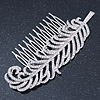 Bridal/ Prom/ Wedding/ Party Rhodium Plated Clear Austrian Crystal Feather Side Hair Comb - 12cm W