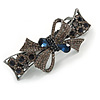 Stunning Crystal Bow Barrette Hair Clip Grip In Gunmetal Finish (Dim Grey, Dark Blue) - 80mm Across
