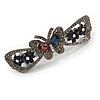 Romantic Crystal Butterfly and Flowers Barrette Hair Clip Grip In Gunmetal Finish (Dim Grey, Pink, Dark Blue) - 80mm Across