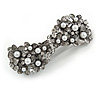 Vintage Inspired White Faux Pearl, Clear Crystal Bow Barrette Hair Clip Grip In Gunmetal Finish - 80mm Across