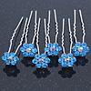 Bridal/ Wedding/ Prom/ Party Set Of 6 Sky Blue Austrian Crystal Daisy Flower Hair Pins In Silver Tone
