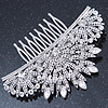 Bridal/ Prom/ Wedding/ Party Rhodium Plated Clear Austrian Crystal Floral Side Hair Comb - 100mm Aross