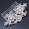 Bridal/ Wedding/ Prom/ Party Rhodium Plated Clear Crystal, Simulated Pearl Floral Hair Comb - 78mm Across