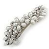 Bridal Wedding Prom Silver Tone Glass Pearl, Crystal Floral Barrette Hair Clip Grip - 85mm W
