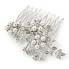 Bridal/ Wedding/ Prom/ Party Rhodium Plated Clear Austrian Crystal, Glass Pearl Triple Flower Hair Comb - 75mm