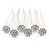 Bridal/ Wedding/ Prom/ Party Set Of 6 Clear Austrian Crystal White Rose Flower Hair Pins In Silver Tone