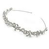 Bridal/ Wedding/ Prom Rhodium Plated Clear Crystal, CZ Floral Tiara Headband