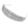 Wide Bridal/ Wedding/ Prom Rhodium Plated Clear Austrian Crystal Leaf Tiara Headband