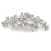 Statement Bridal/ Wedding/ Prom/ Party Rhodium Plated Clear Austrian Crystal Floral Side Hair Comb - 22cm W