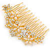 Bridal/ Wedding/ Prom/ Party Gold Plated Clear Crystal and Light Cream Simulated Pearl Floral Hair Comb - 85mm